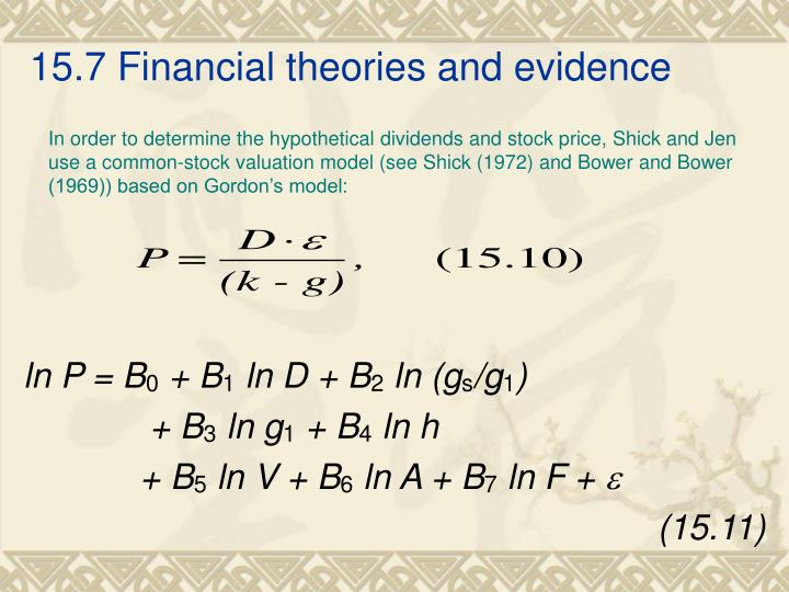 15.7 Financial theories and evidence