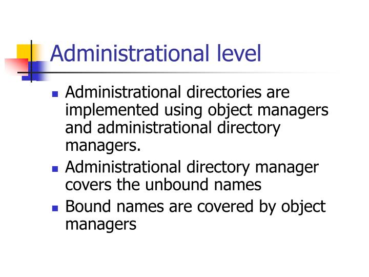 Administrational level