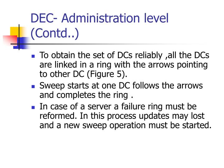 DEC- Administration level (Contd..)