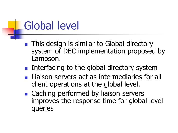 Global level