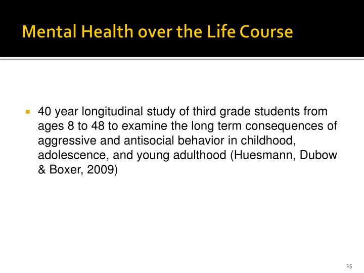 Mental Health over the Life Course