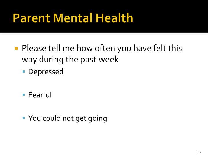 Parent Mental Health
