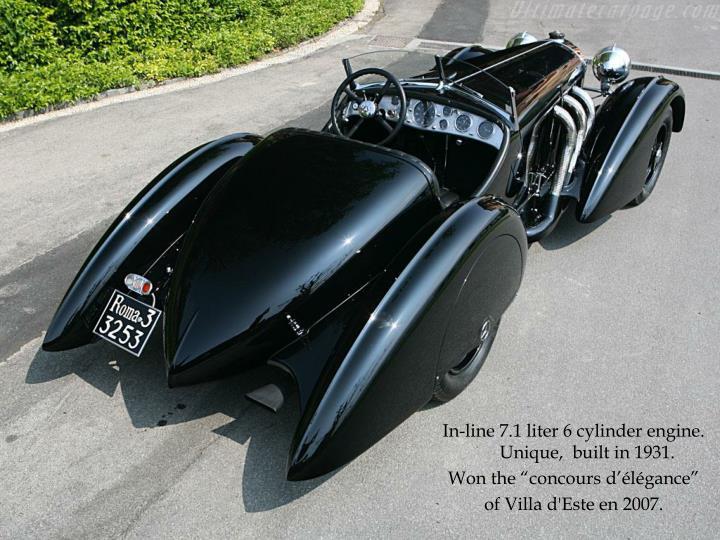 In-line 7.1 liter 6 cylinder engine.  Unique,  built in 1931.