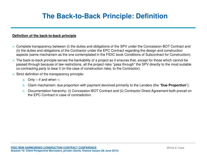 The Back-to-Back Principle: Definition