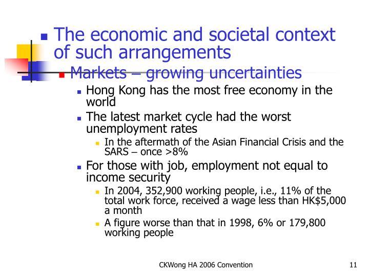 The economic and societal context of such arrangements