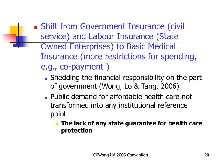 Shift from Government Insurance (civil service) and Labour Insurance (State Owned Enterprises) to Basic Medical Insurance (more restrictions for spending, e.g., co-payment )