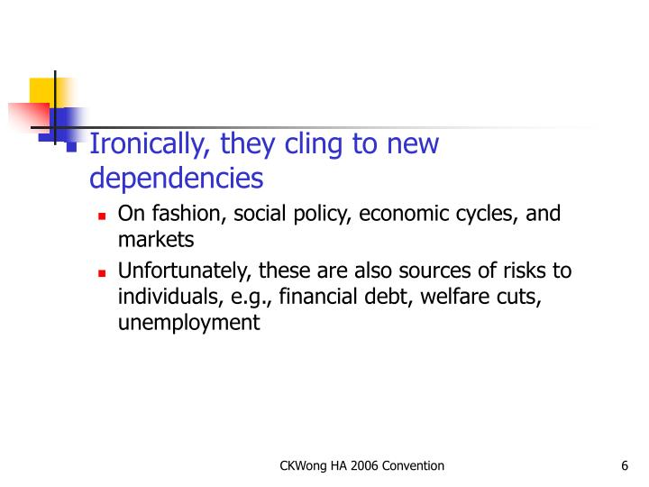Ironically, they cling to new dependencies