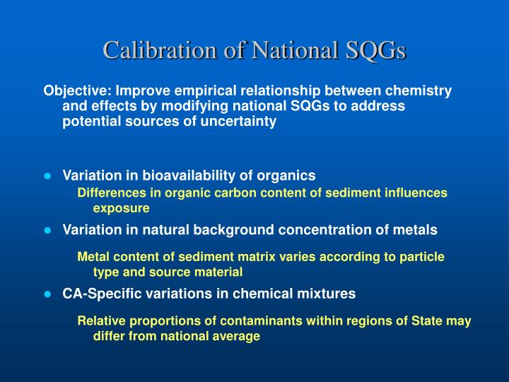 Calibration of National SQGs