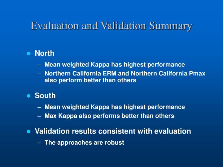 Evaluation and Validation Summary