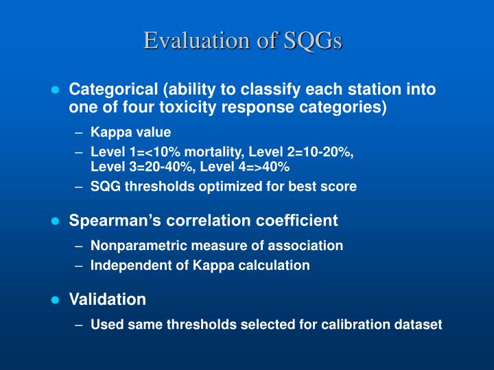 Evaluation of SQGs