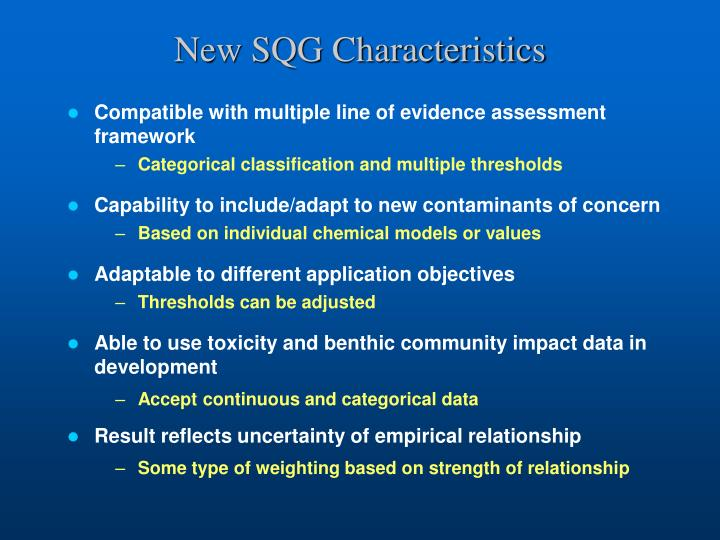 New SQG Characteristics