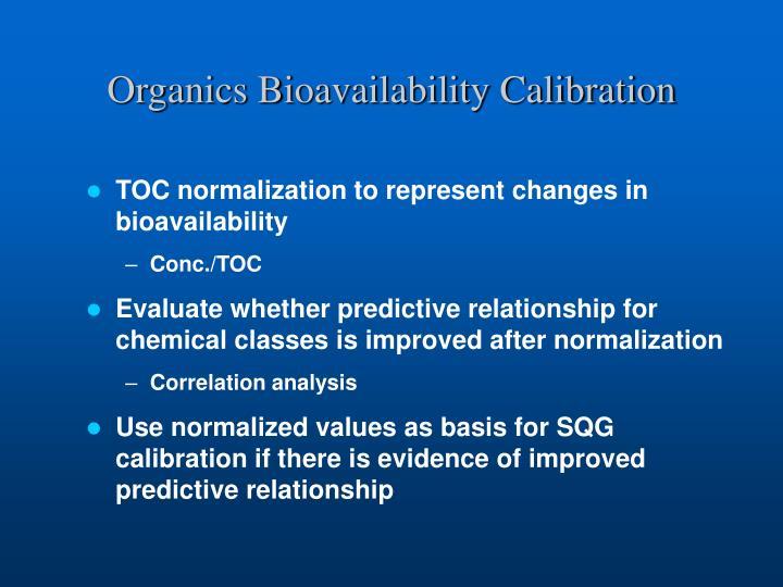 Organics Bioavailability Calibration