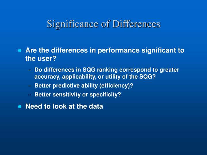 Significance of Differences