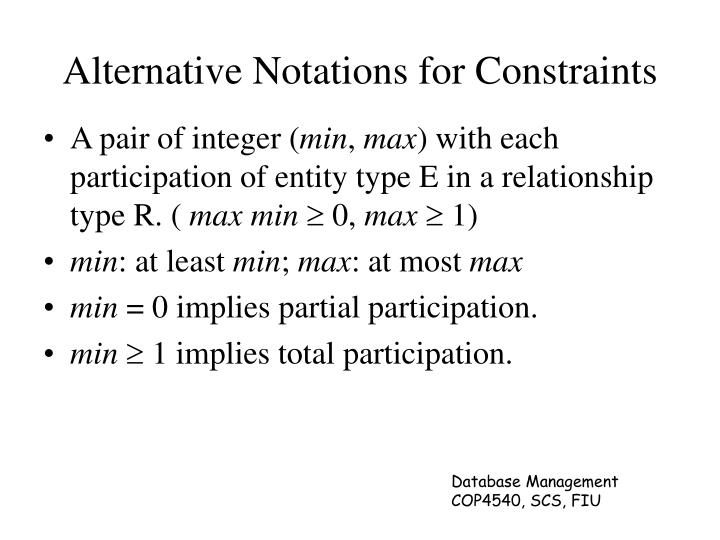 Alternative Notations for Constraints