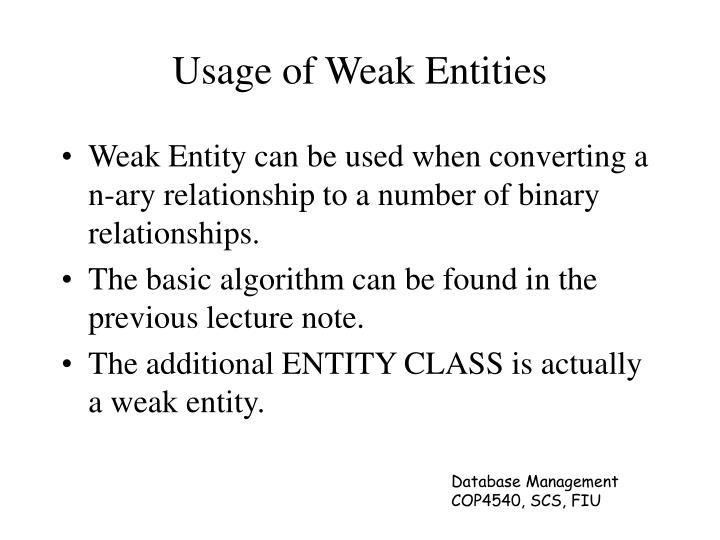 Usage of Weak Entities