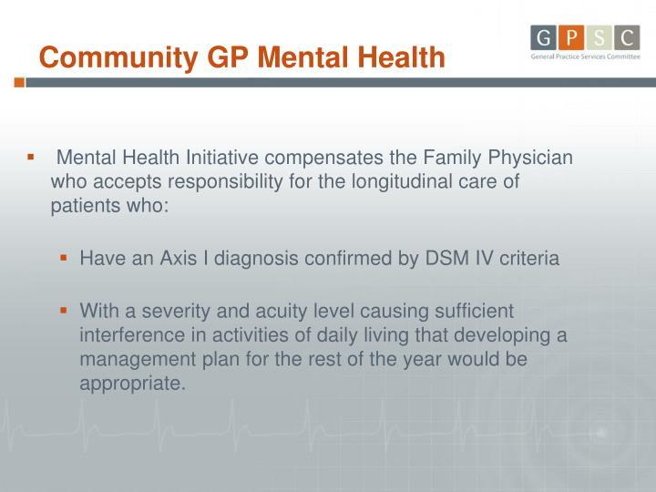 Community GP Mental Health