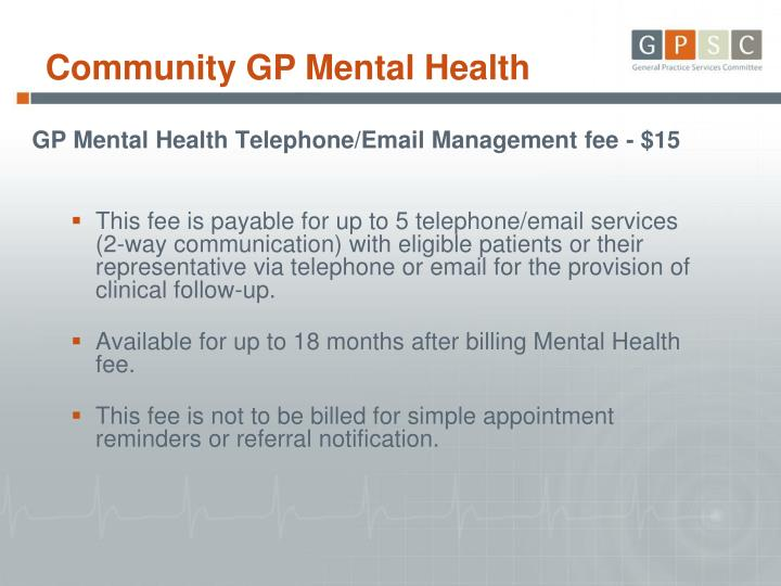 GP Mental Health Telephone/Email Management fee - $15