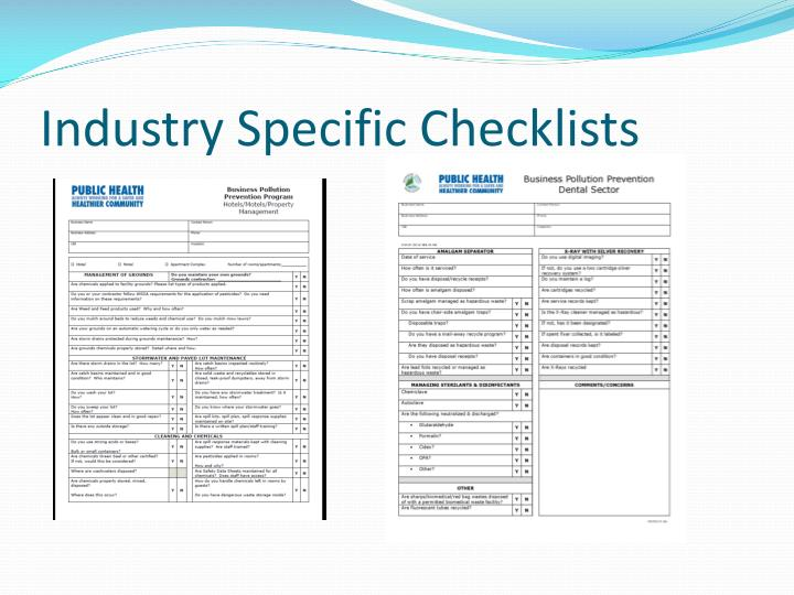 Industry Specific Checklists