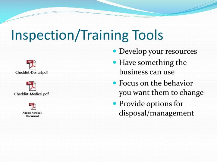 Inspection/Training Tools
