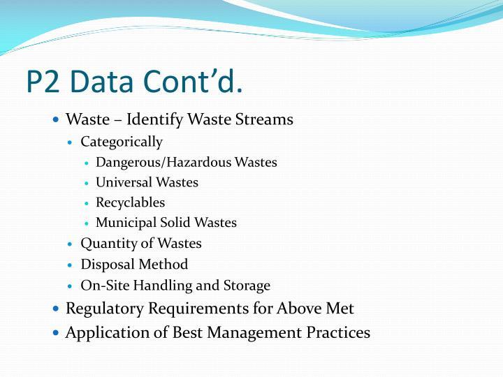 P2 Data Cont'd.