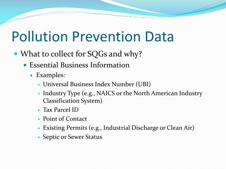Pollution Prevention Data