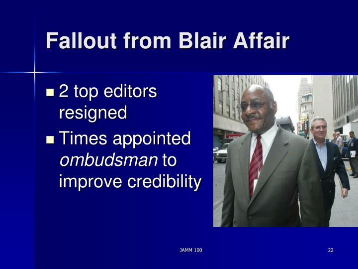 Fallout from Blair Affair