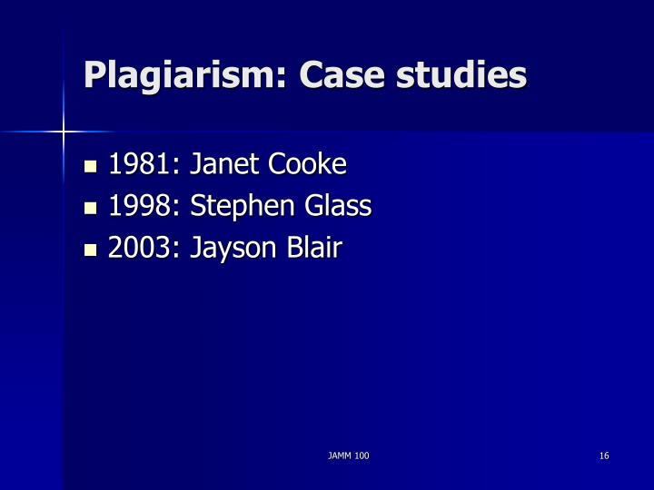 Plagiarism: Case studies