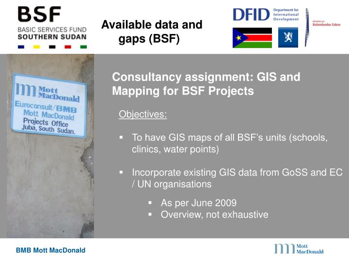 Available data and gaps (BSF)