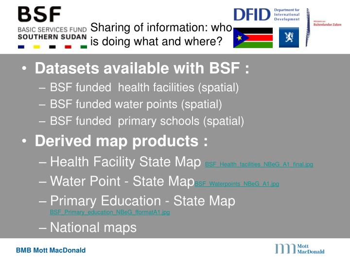 Sharing of information: who is doing what and where?