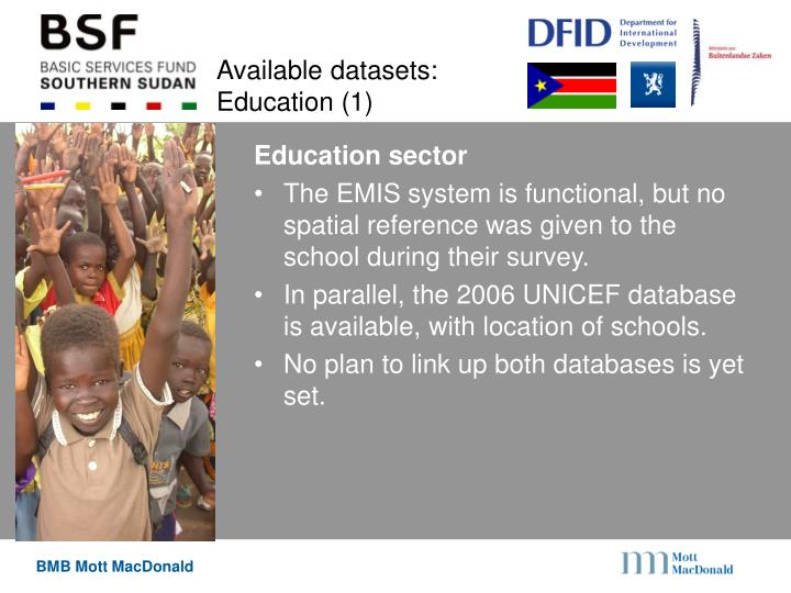 Available datasets: Education (1)