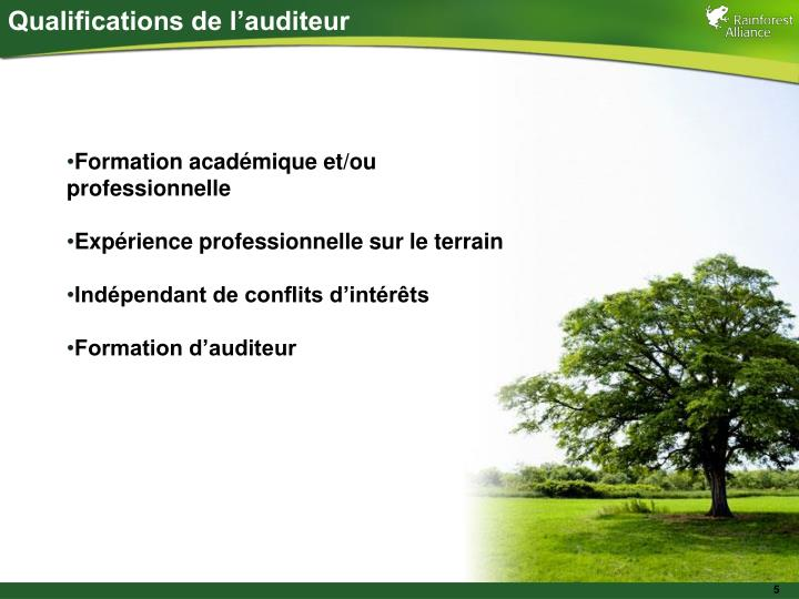 Qualifications de l'auditeur
