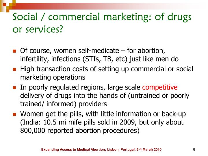 Social / commercial marketing: of drugs or services?
