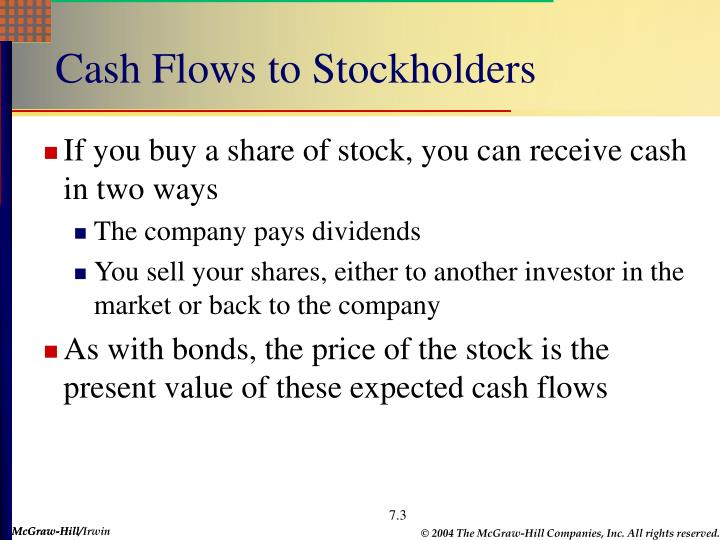 Cash Flows to Stockholders