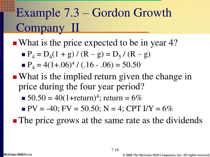 Example 7.3 – Gordon Growth Company  II