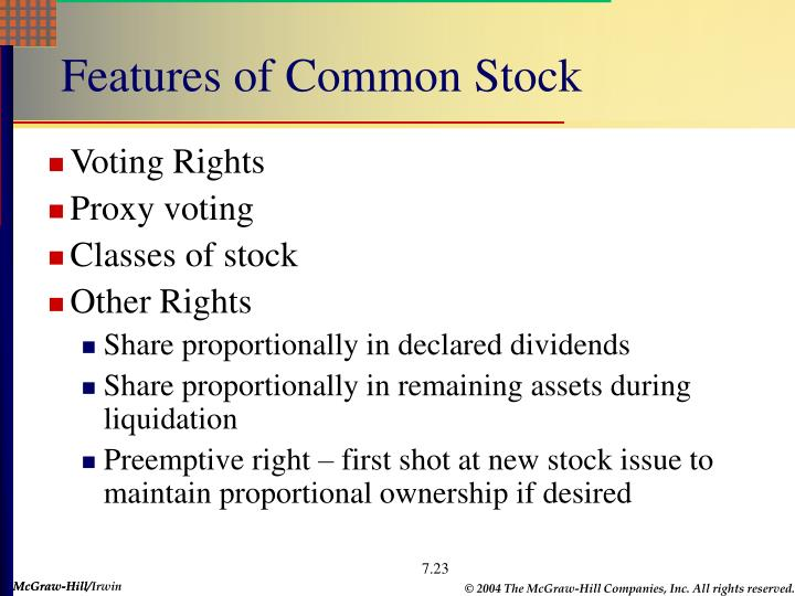 Features of Common Stock