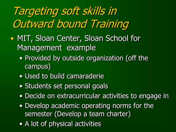 Targeting soft skills in Outward bound Training