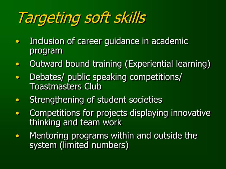 Targeting soft skills