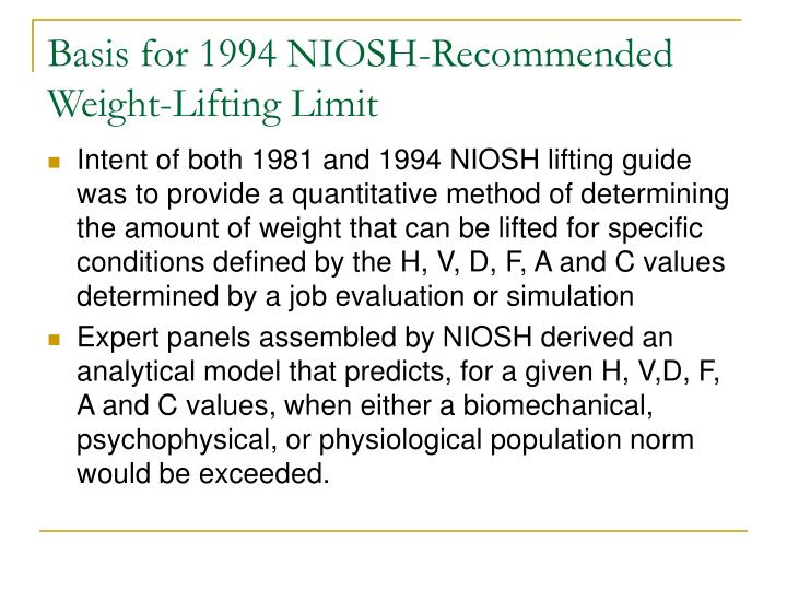 Basis for 1994 NIOSH-Recommended Weight-Lifting Limit