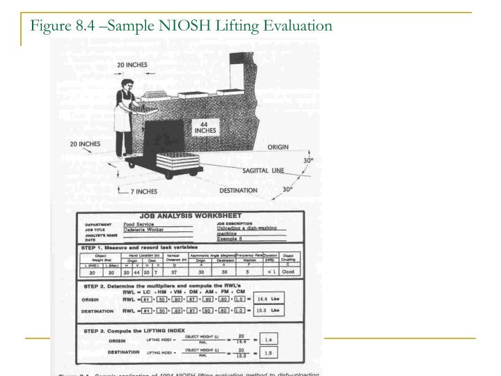 Figure 8.4 –Sample NIOSH Lifting Evaluation