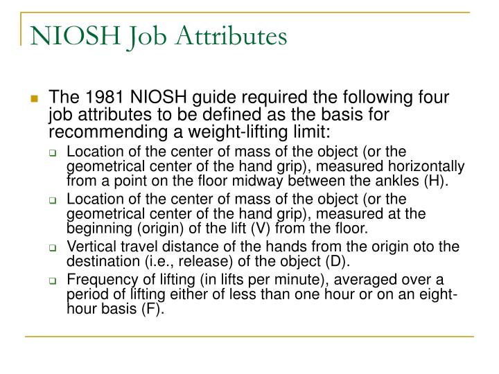 NIOSH Job Attributes
