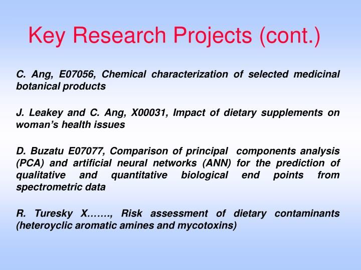 Key Research Projects (cont.)
