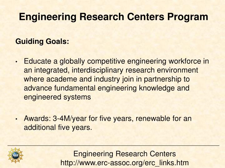 Engineering Research Centers Program