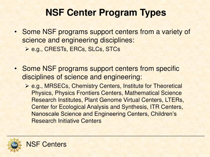 NSF Center Program Types
