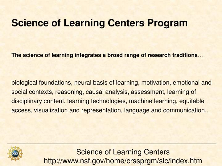 Science of Learning Centers Program