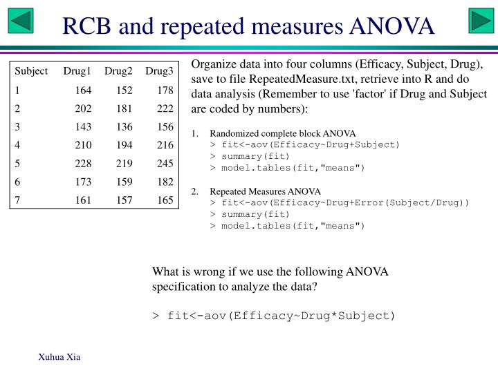 RCB and repeated measures ANOVA