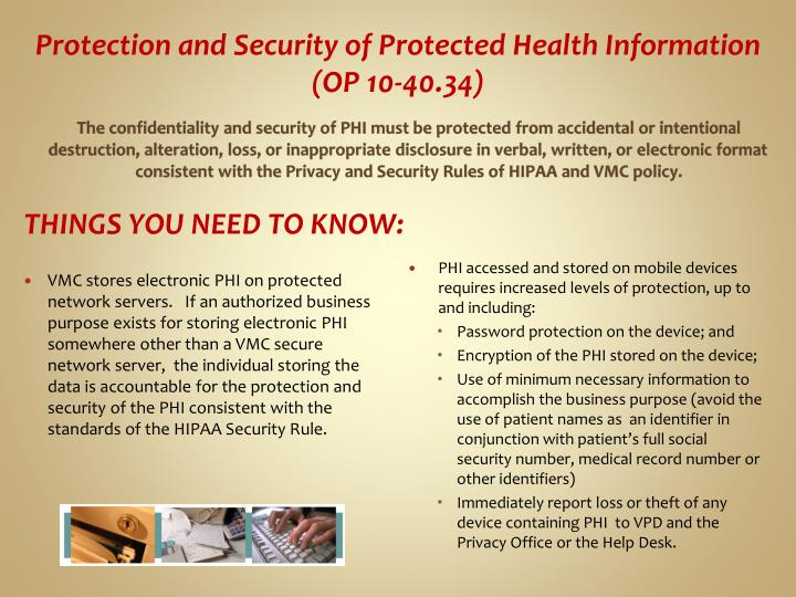 Protection and Security of Protected Health Information