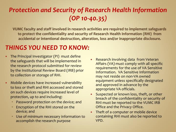 Protection and Security of Research Health Information