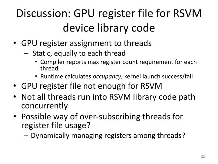 Discussion: GPU register file for RSVM device library code