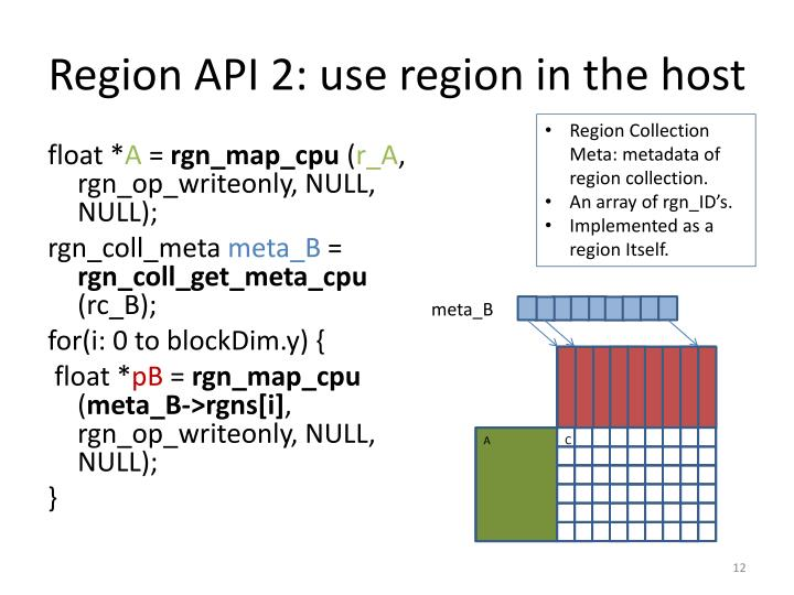 Region API 2: use region in the host