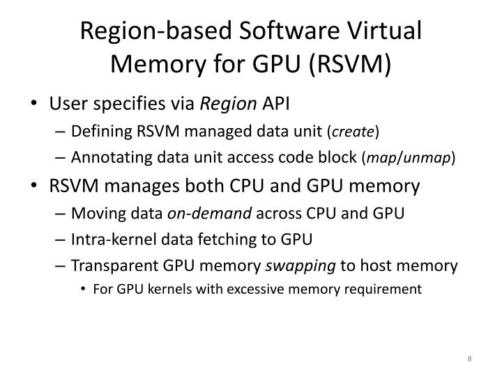 Region-based Software Virtual Memory for GPU (RSVM)